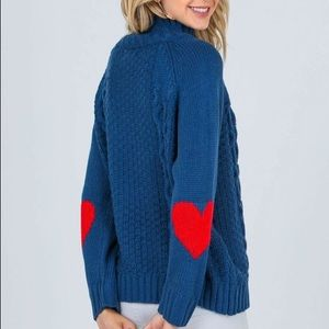 Sweaters - Heart Elbow Patch  Sweater ❤️💙
